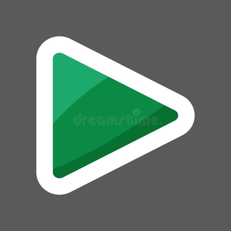 Play press button icon colored sticker. Press vector illustration. Layers grouped for easy editing illustration. For your design royalty free illustration