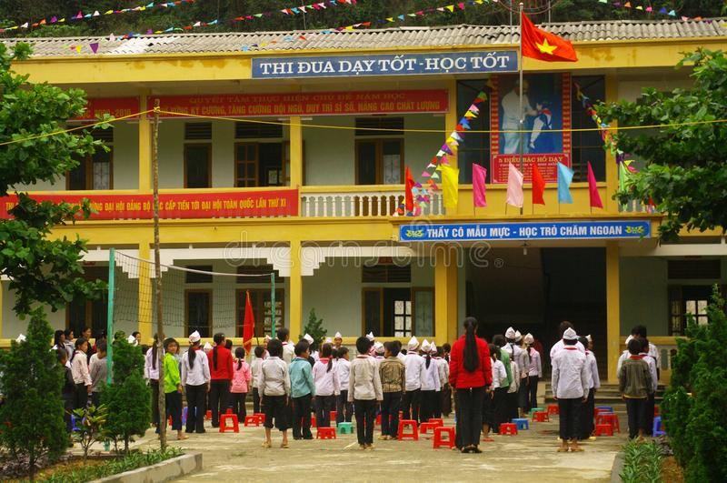 Play school on a Monday morning. Every Monday morning is reserved for worship of Ho Chi Minh and the Vietnamese revolution. Patriotic songs are de rigueur. A stock images