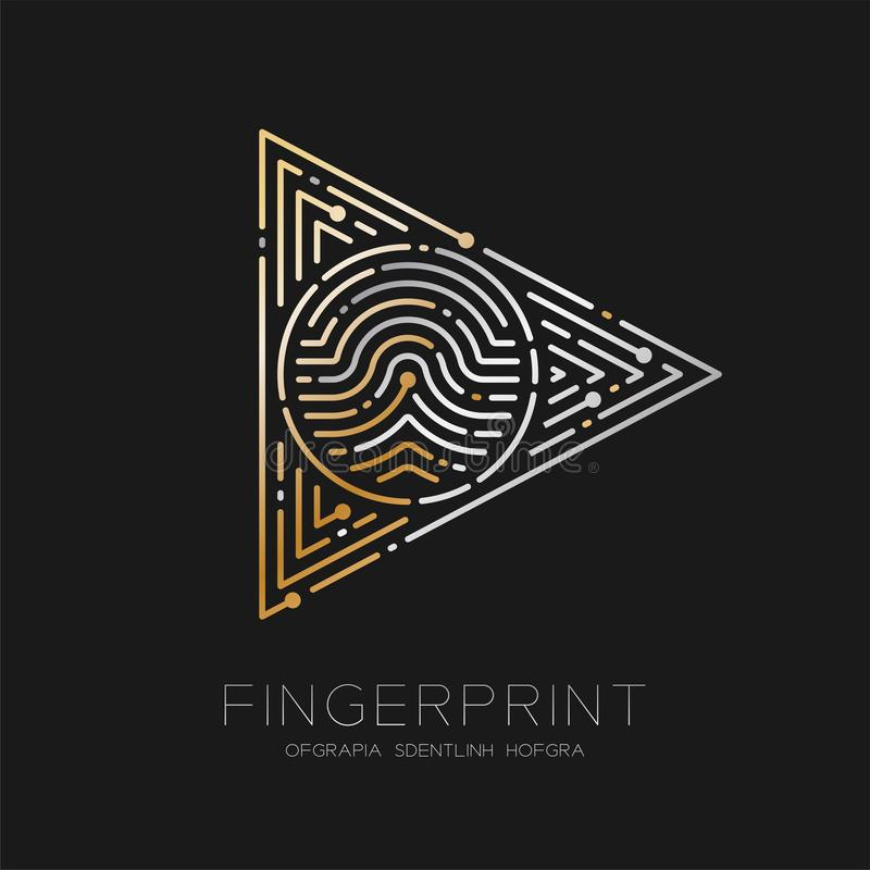 Play sign Fingerprint scan pattern logo dash line, digital technology start concept, illustration silver and gold isolated on. Black background with Fingerprint stock illustration