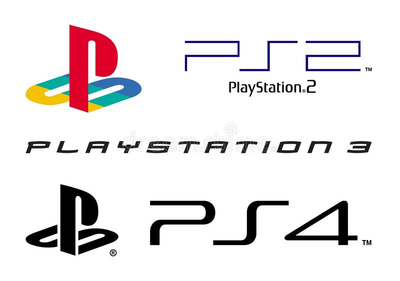 play station logo collection editorial photography