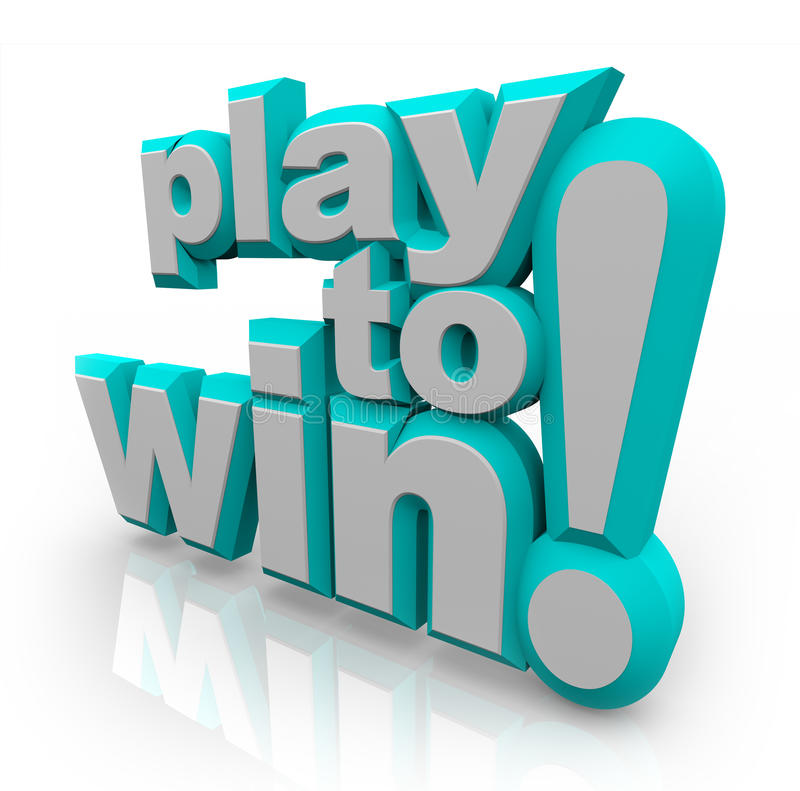 Play To Win Words Determination Royalty Free Stock Image