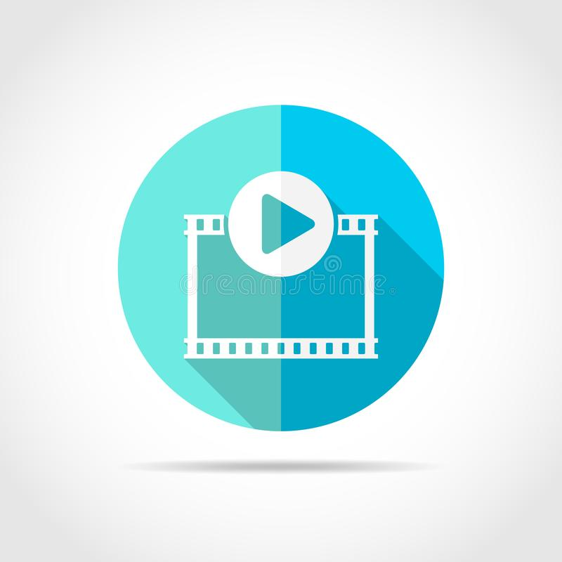 Play Video button. Vector Illustration. Play icon. Play Video button in flat design with long shadow. Vector Illustration. Play film icon isolated stock illustration
