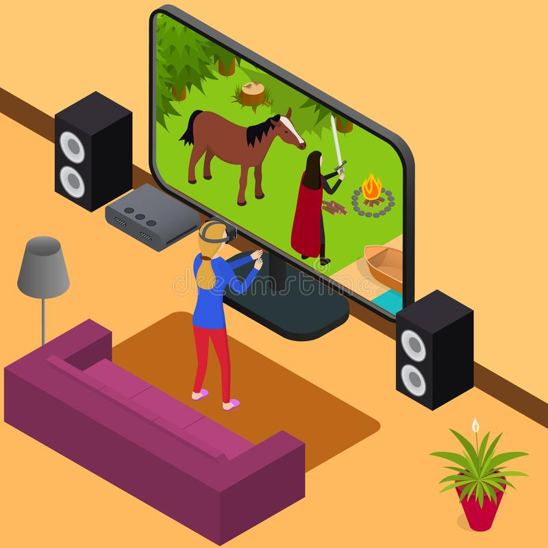 Play Video Game and Gamer Girl 3d Isometric View . Vector. Play Video Game and Gamer Girl 3d Isometric View Virtual Cyber Reality Concept. Vector illustration stock illustration