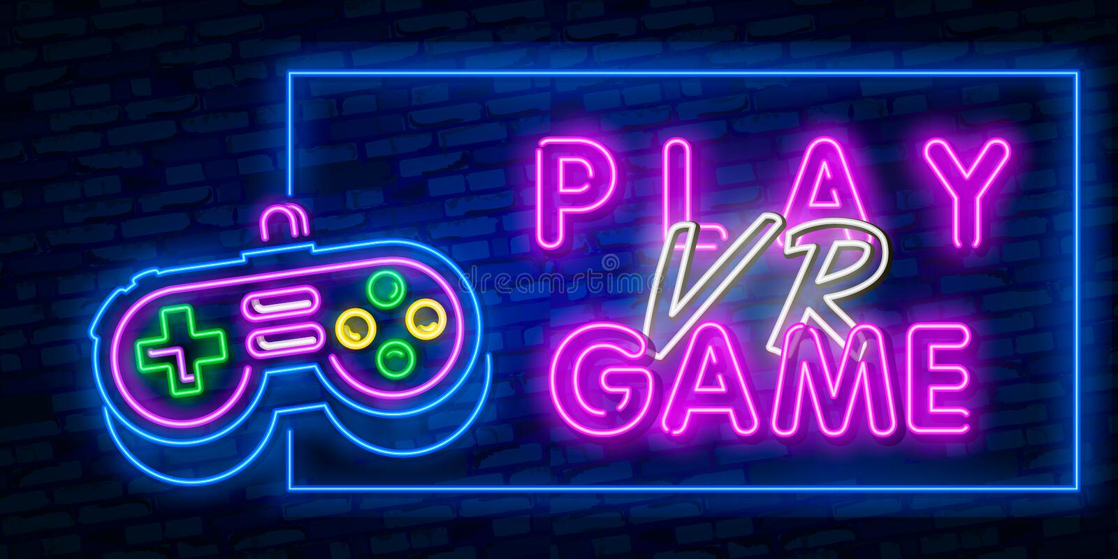 Play video game neon sign. Virtual reality neon sign, bright signboard, light banner. VR Game logo, emblem and label. Vector vector illustration