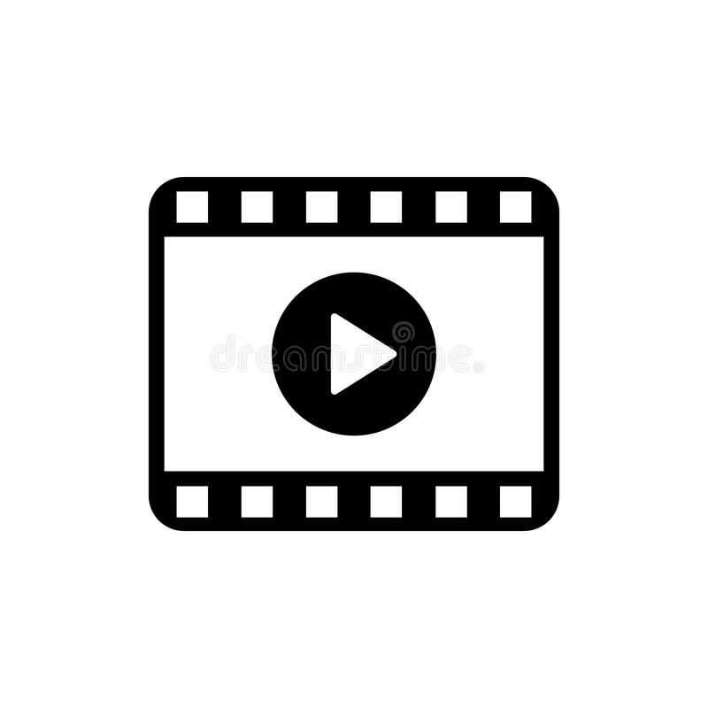 Play video icon. Movie icon. Video player symbol stock illustration