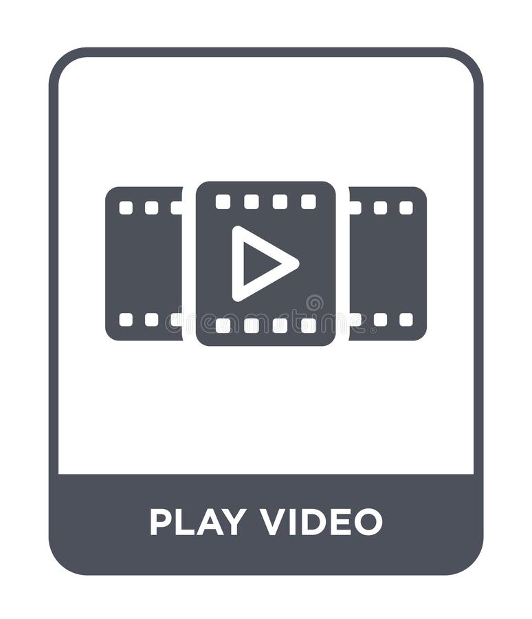 Play video icon in trendy design style. play video icon isolated on white background. play video vector icon simple and modern. Flat symbol for web site, mobile stock illustration
