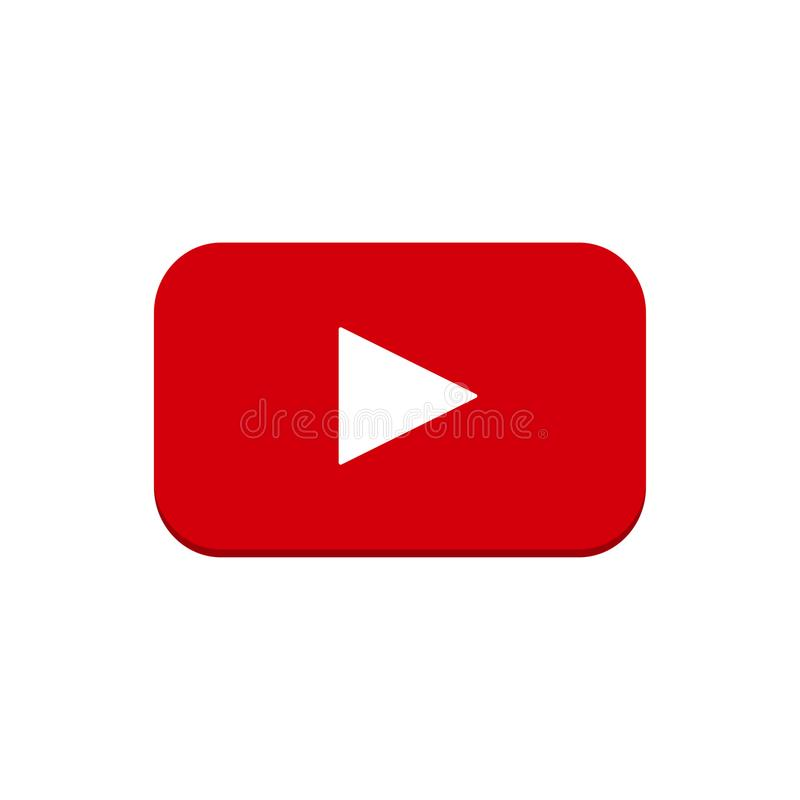 Play Video. Red button on a white background stock illustration