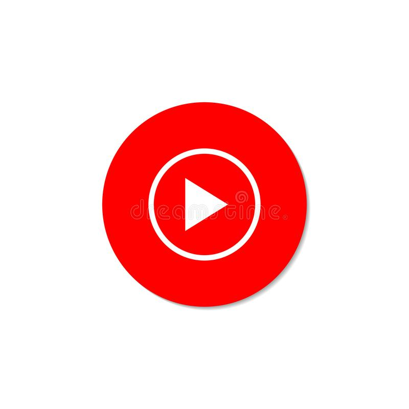Play Video. Red button on a white background.  vector illustration