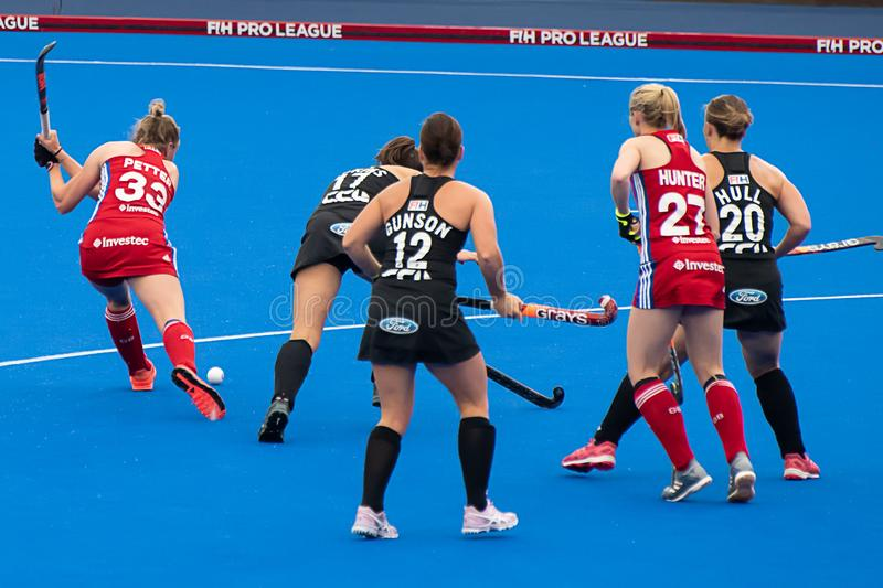 Great Britain v New Zealand - Women`s FIH Field Hockey Pro League. Play at the women`s FIH Pro Hockey League match between GB and New Zealand at Twickenham Stoop stock image
