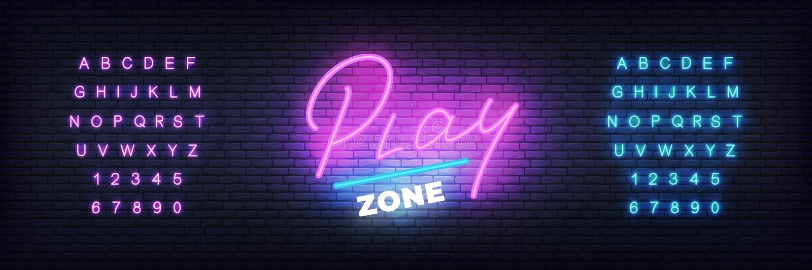 Play zone neon template. Glowing lettering for play club royalty free illustration