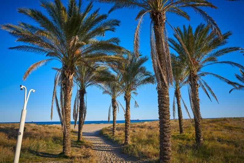 Playa埃尔皮纳尔德埃尔耶罗海滩在Grao de卡斯特利翁省 库存图片