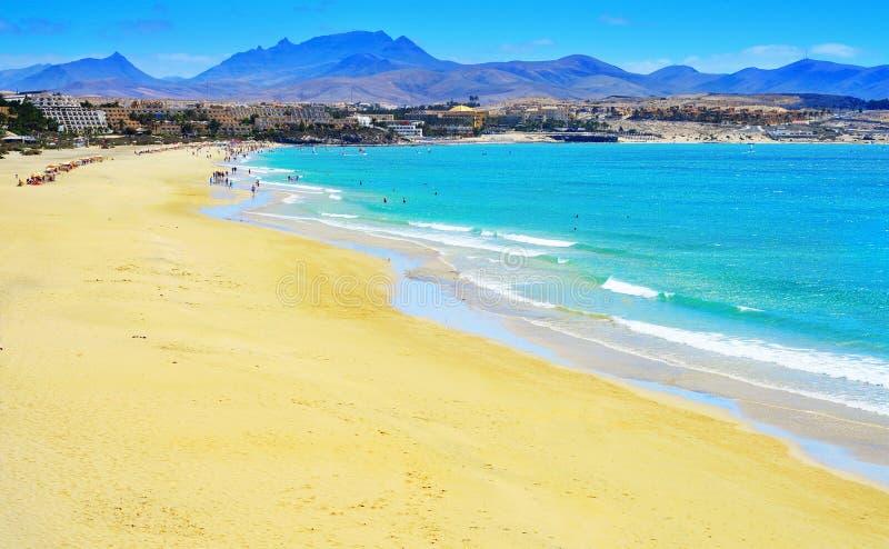 Playa埃斯梅拉达在费埃特文图拉岛,加那利群岛,西班牙 库存图片