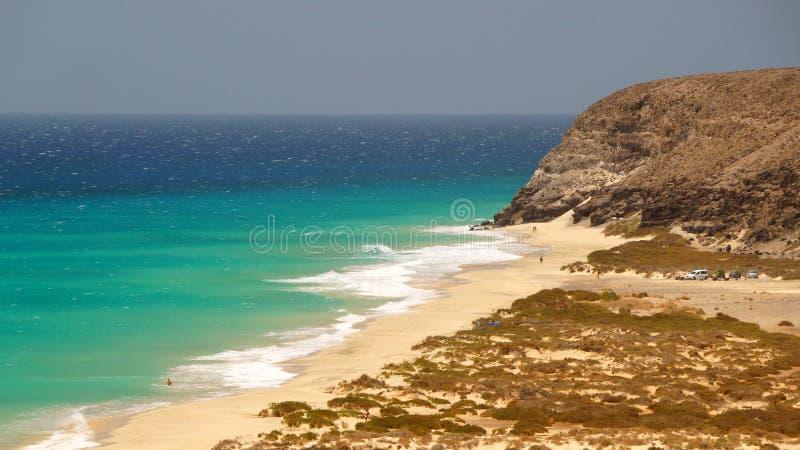 Playa处女的Sotavento -,狂放的海滩在费埃特文图拉岛,加那利群岛,西班牙 库存照片