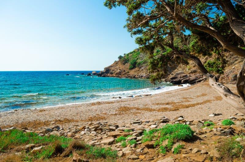 Playa abandonada Kedros fotografía de archivo