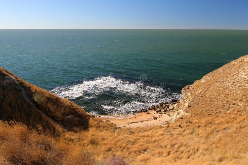 Playa arenosa aislada con el mar de la turquesa en la hierba y las piedras amarillas del primero plano imágenes de archivo libres de regalías