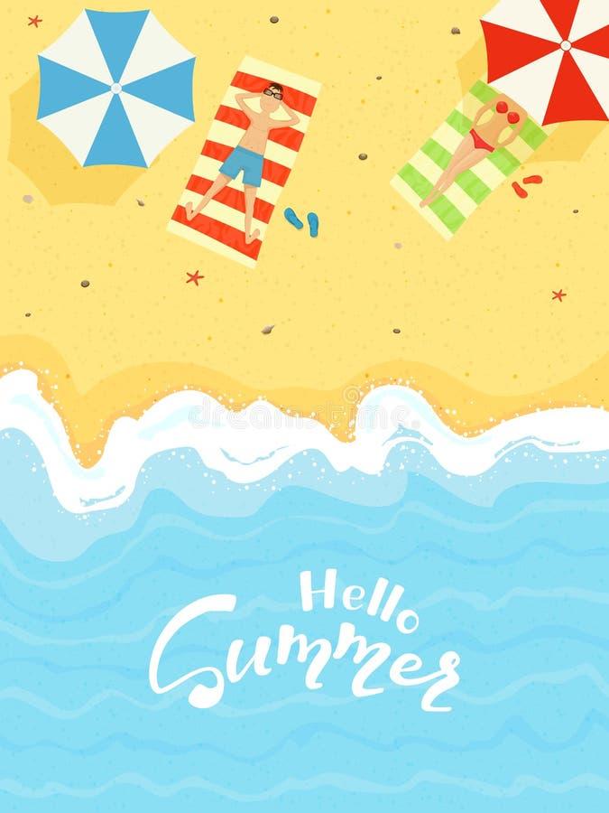 Playa arenosa del verano stock de ilustración