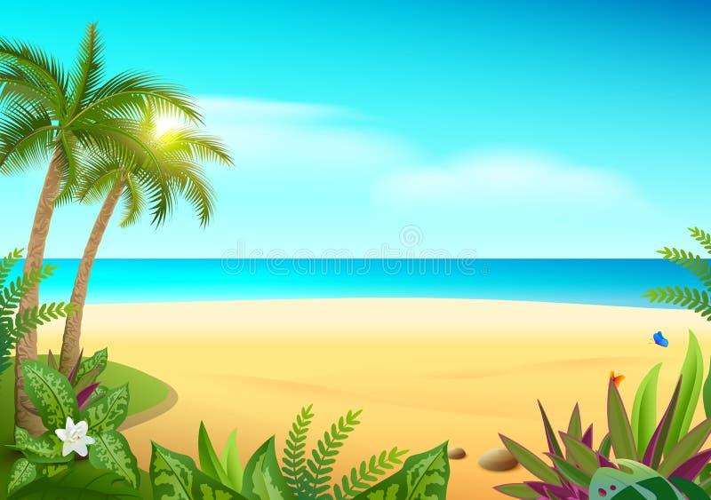 Playa arenosa, palmeras y mar de la isla tropical del paraíso stock de ilustración