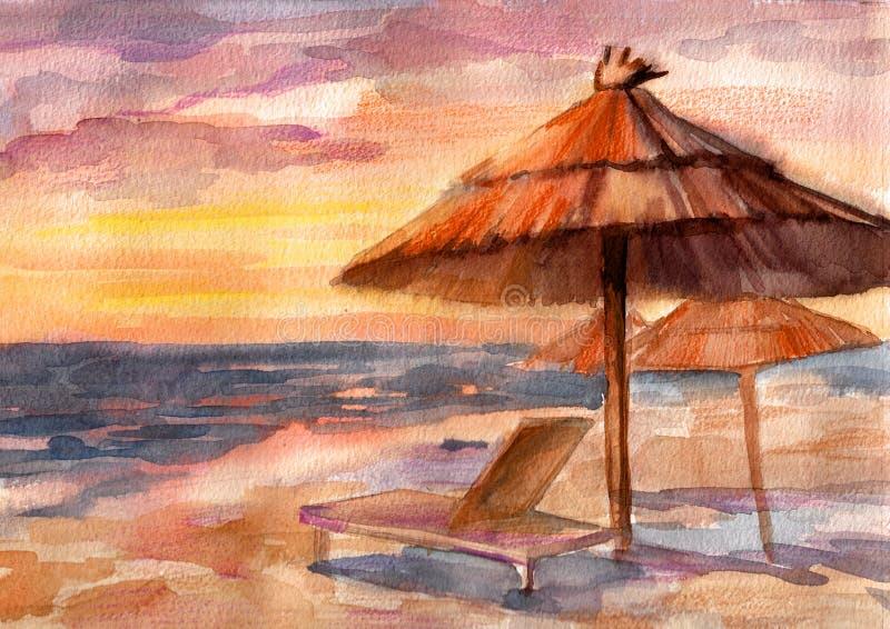 Playa asoleada stock de ilustración