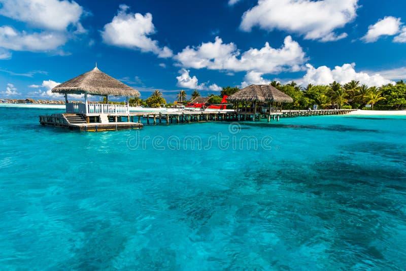 Playa asombrosa en Maldivas imagenes de archivo