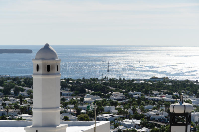 Playa Blanca. As seen from Montana Rocha, a small red volcano royalty free stock photo