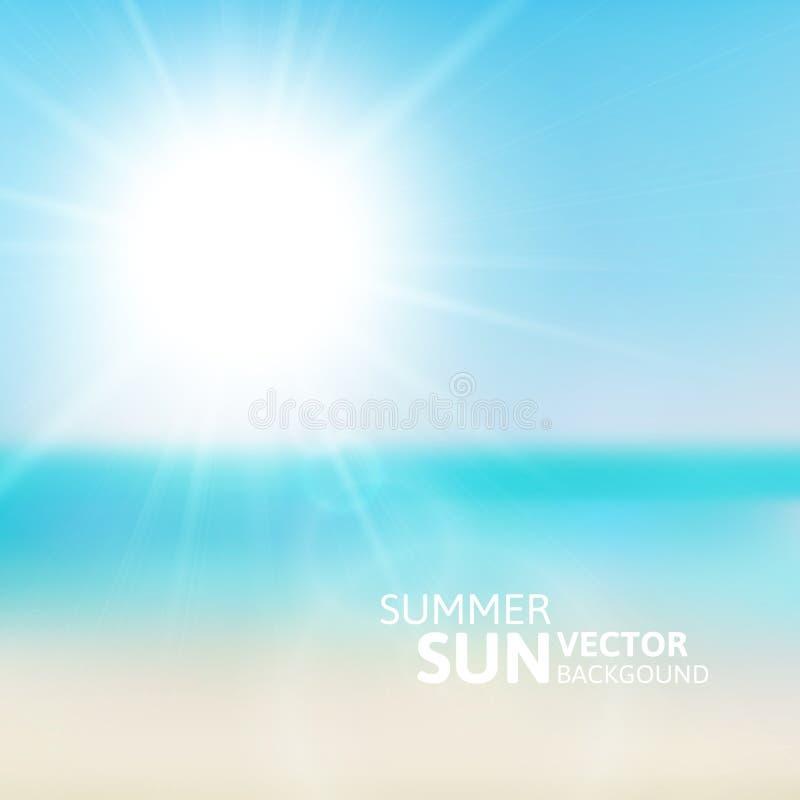Playa borrosa y cielo azul con el sol del verano stock de ilustración