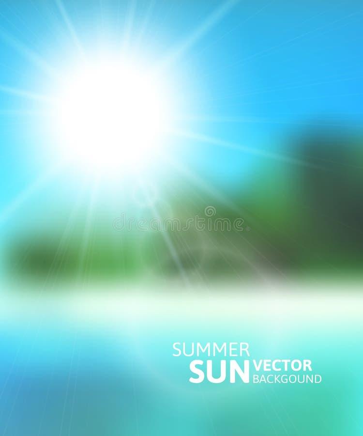 Playa borrosa y cielo azul con el sol del verano ilustración del vector