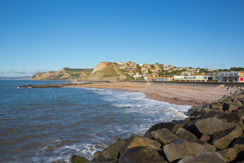 Playa británica de Dorset de la bahía del oeste y vista costera al casquillo de oro fotos de archivo libres de regalías