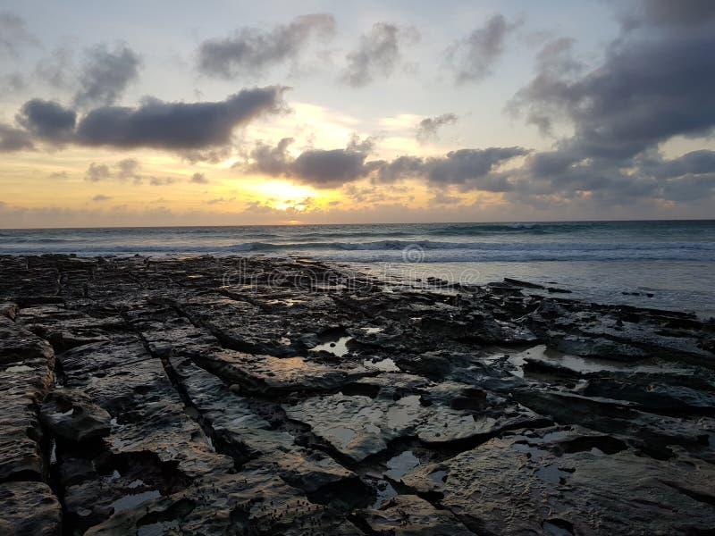 Playa Broome Australia occidental del cable de la puesta del sol foto de archivo libre de regalías