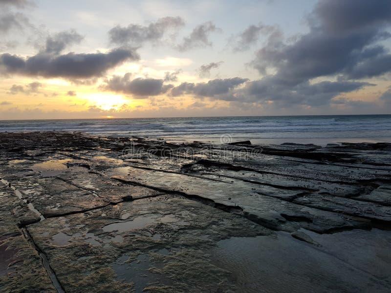 Playa Broome Australia occidental del cable de la puesta del sol fotografía de archivo