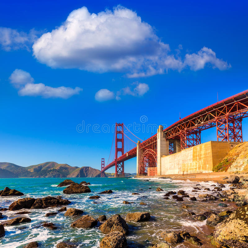 Playa California de San Francisco Golden Gate Bridge Marshall fotografía de archivo
