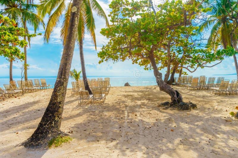 Playa Cayo Levantado strandsikt arkivfoto
