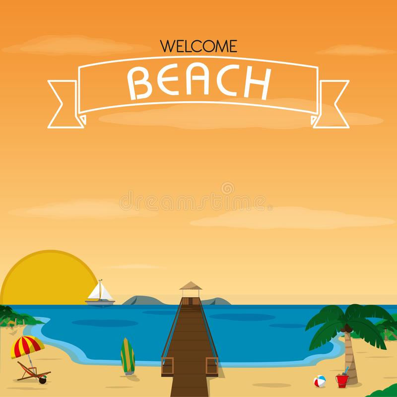 Playa con diseño del muelle libre illustration
