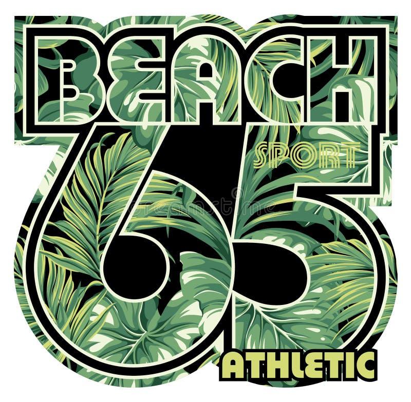 Playa con el fondo tropical de las hojas ilustración del vector