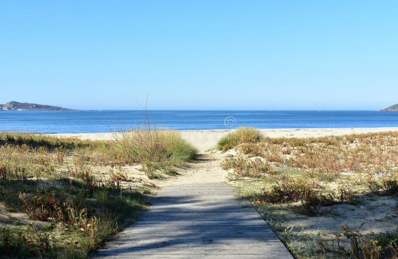 Playa con la vegetaci?n y el paseo mar?timo de madera Mar azul, d?a soleado, Galicia, Espa?a fotos de archivo