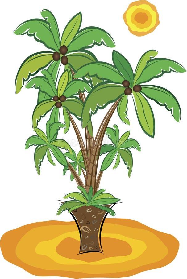 Playa con las palmeras stock de ilustración