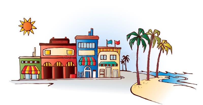 Playa con las tiendas stock de ilustración
