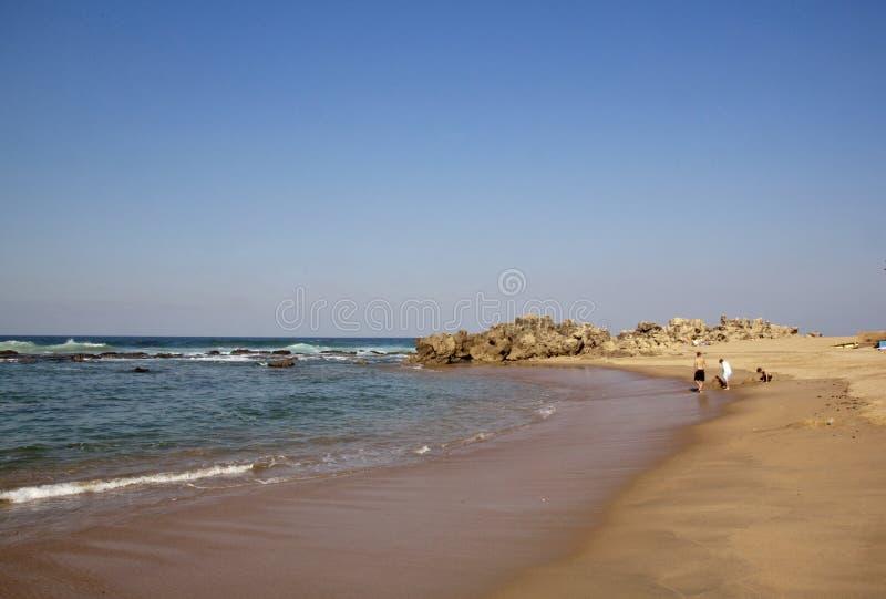 Playa con marea baja de Umdloti de los Paddlers, Durban, Suráfrica imágenes de archivo libres de regalías