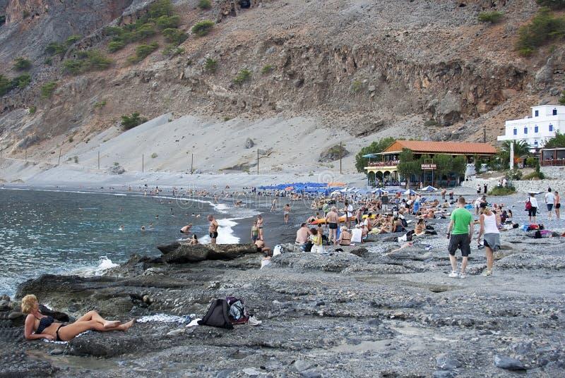 Playa de Agia Roumeli - formato CRUDO  fotos de archivo libres de regalías