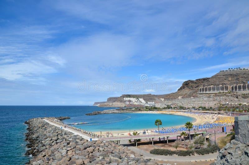 Playa de Amadores em Ilhas Canárias imagem de stock