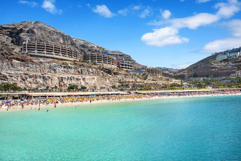 Playa de Amadores strand Gran Canaria, kanariefågelöar spain arkivfoto
