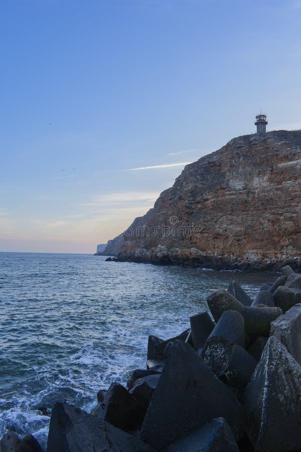 Playa de Bolata cerca del cabo Kaliakra imágenes de archivo libres de regalías
