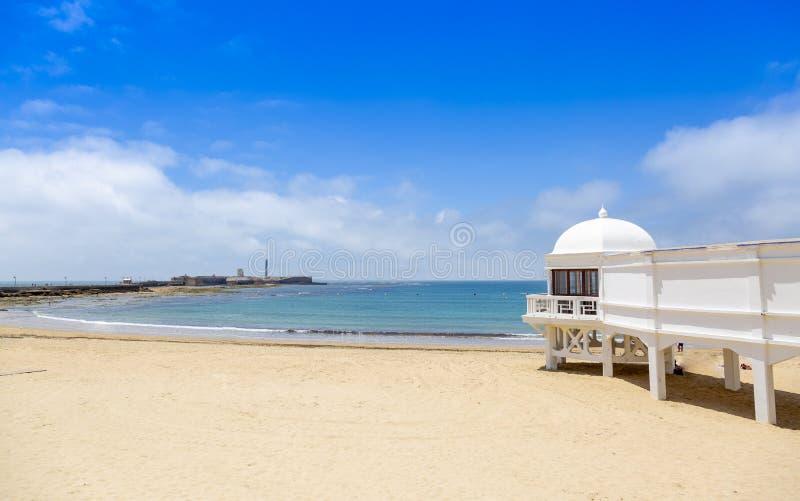 Playa de Caleta del La en Cádiz, Andalucía, España imágenes de archivo libres de regalías