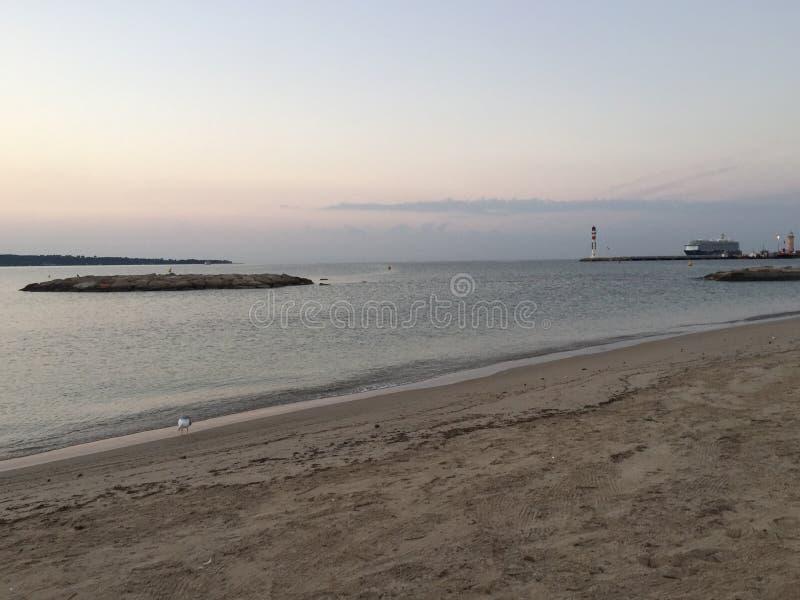 Playa de Cannes, paisaje de la madrugada de riviera francesa imagen de archivo libre de regalías