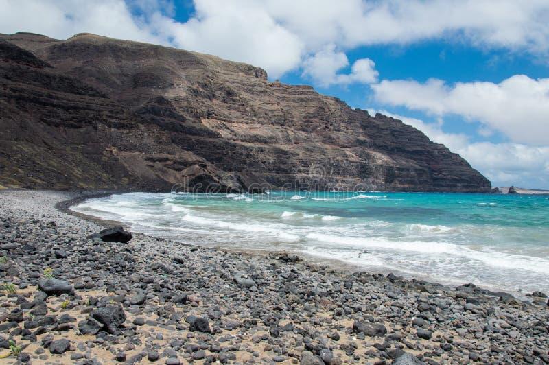 Playa de Cantera del la de Lanzarote Orzola Playa imágenes de archivo libres de regalías