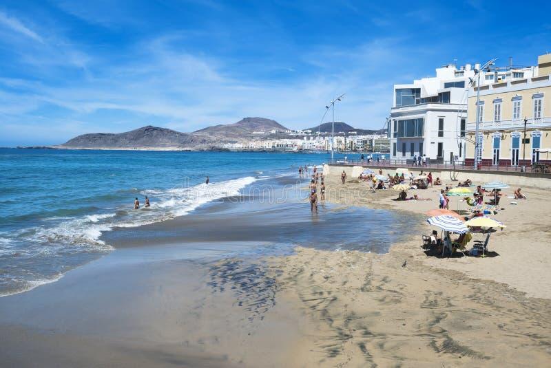 Playa de Canteras en Gran Canaria España foto de archivo libre de regalías