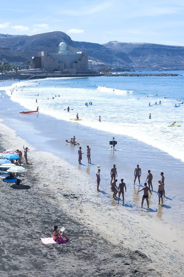 Playa de Canteras en Gran Canaria España fotografía de archivo