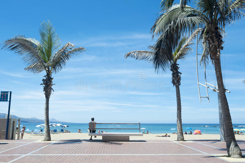 Playa de Canteras en Gran Canaria España fotos de archivo