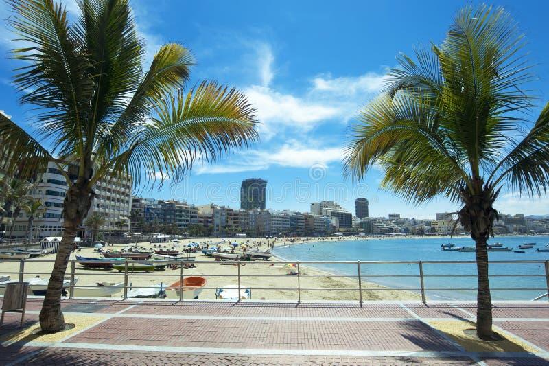 Playa de Canteras, Las Palmas de Gran Canaria, España imagenes de archivo