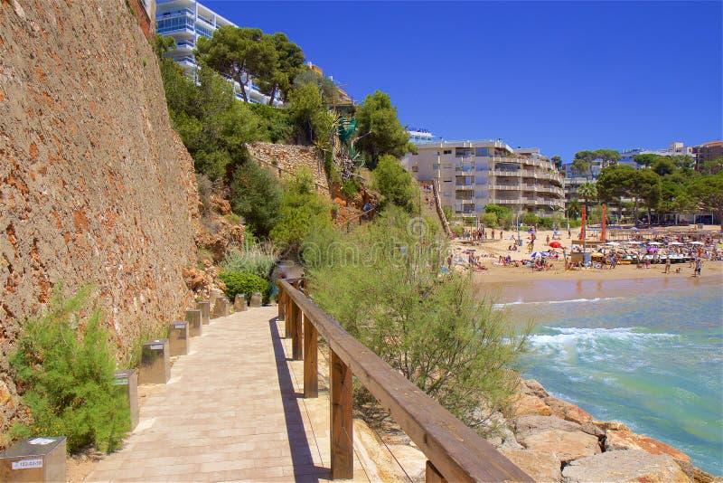 Playa de Capellans - Coast in Salou, Costa Daurada, Spain. Beautiful sea front and beaches in Salou, Costa Daurada, Spain royalty free stock photography