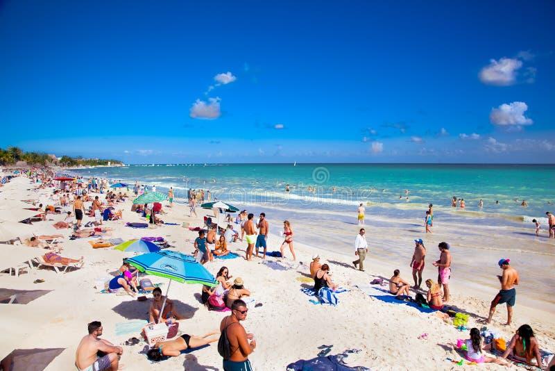 Playa DE Carmen bij Caraïbische Zee in Mexico royalty-vrije stock foto